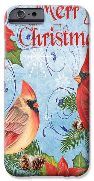 Tree Art Print Mixed Media iPhone Cases - Winter Blue Cardinals-Merry Christmas Card iPhone Case by Jean Plout