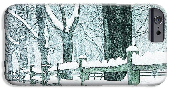 Split Rail Fence iPhone Cases - Winter Blues iPhone Case by John Stephens