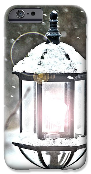 Electrical Equipment iPhone Cases - Winter Bright - Snowy Night iPhone Case by Crystal Harman