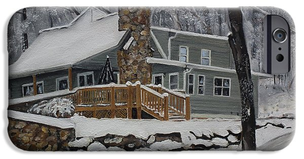 Cabin Window Paintings iPhone Cases - Winter - Cabin - in the Woods iPhone Case by Jan Dappen