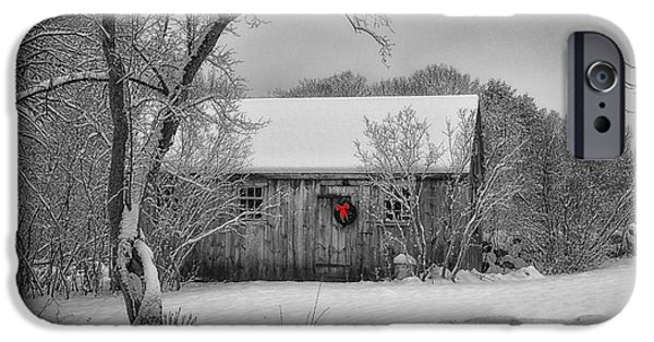 Cabin Window Digital iPhone Cases - Winter Cabin iPhone Case by Tricia Marchlik