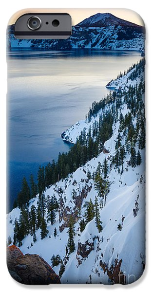 Pines iPhone Cases - Winter Caldera iPhone Case by Inge Johnsson