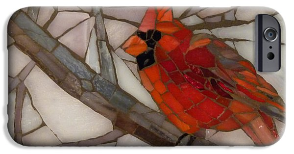 Christmas Glass Art iPhone Cases - Winter Cardinal iPhone Case by Julie Mazzoni