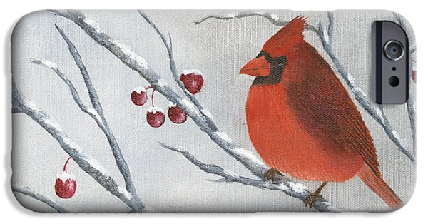 Etc. Paintings iPhone Cases - Winter Cardinal iPhone Case by Peter Miles
