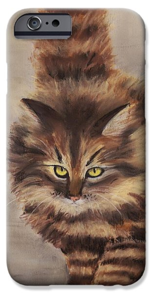 Snow Pastels iPhone Cases - Winter Cat iPhone Case by Anastasiya Malakhova