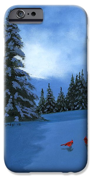 Snowy Night iPhone Cases - Winter Christmas Card 2012 iPhone Case by Cecilia  Brendel