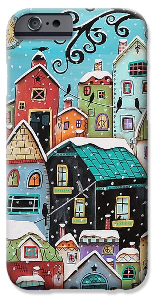 Winter Landscape iPhone Cases - Winter City iPhone Case by Karla Gerard
