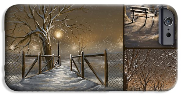 Winter Light iPhone Cases - Winter collage iPhone Case by Veronica Minozzi