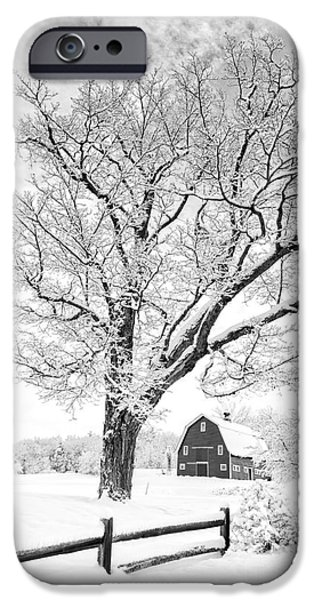 Farming Barns iPhone Cases - Winter Comes to the Upper Valley iPhone Case by Edward Fielding