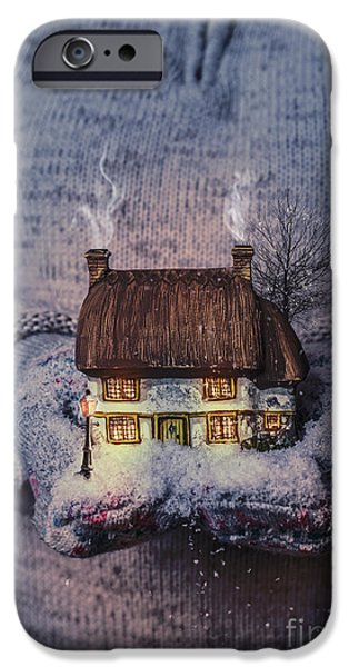 Snowy Night Photographs iPhone Cases - Winter Cottage At Night iPhone Case by Amanda And Christopher Elwell