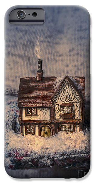 Snowy Night iPhone Cases - Winter Cottage iPhone Case by Amanda And Christopher Elwell