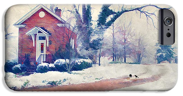 Cute Tree Images iPhone Cases - Winter Cottage iPhone Case by Darren Fisher