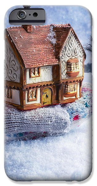 Snowy Night iPhone Cases - Winter Cottage In Gloved Hand iPhone Case by Amanda And Christopher Elwell