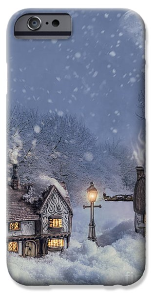 Night Lamp iPhone Cases - Winter Cottages iPhone Case by Amanda And Christopher Elwell