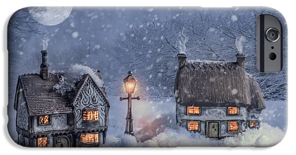 Snowy Evening iPhone Cases - Winter Cottages In Snow iPhone Case by Amanda And Christopher Elwell