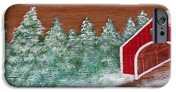 Covered Bridge Mixed Media iPhone Cases - Winter Covered Bridge iPhone Case by Karen Sysyn