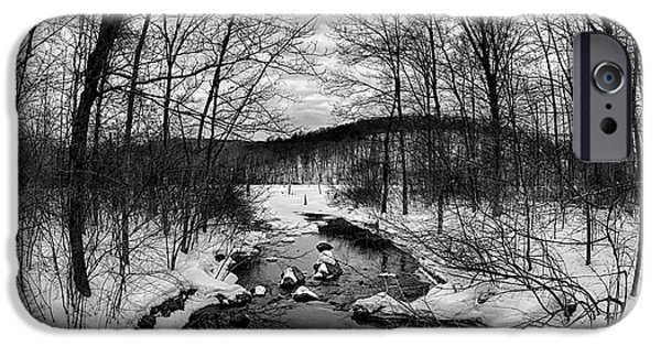 Snowy Brook iPhone Cases - Winter Creek iPhone Case by Mark Miller
