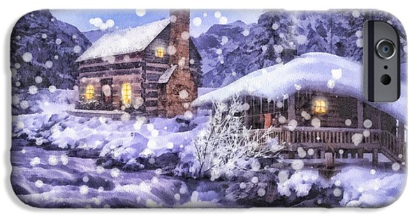 Snowy Night iPhone Cases - Winter Creek iPhone Case by Mo T