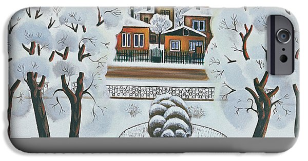 Snow iPhone Cases - Winter Day, 1978 Oil On Canvas iPhone Case by Radi Nedelchev