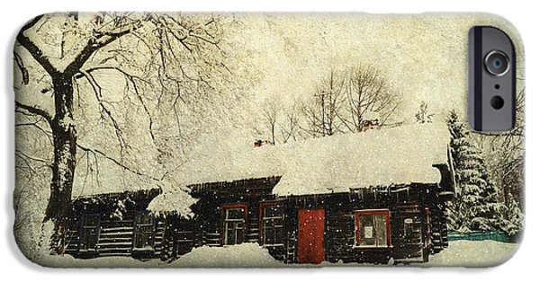 Cabin Window iPhone Cases - Winter Day at Countryside iPhone Case by Jenny Rainbow