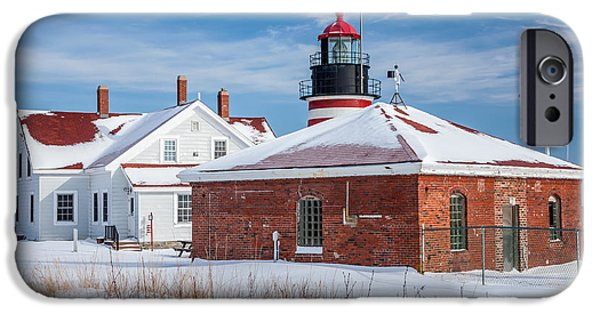 Winter In Maine iPhone Cases - Winter Day at West Quoddy Head Light iPhone Case by Susan Cole Kelly