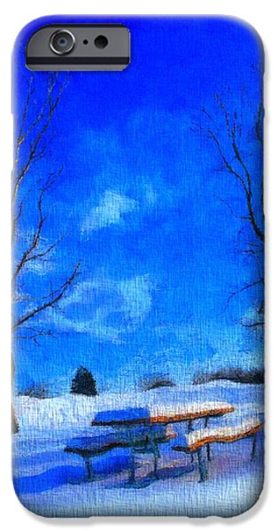 Snowy Day Paintings iPhone Cases - Winter Day On Canvas iPhone Case by Dan Sproul