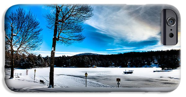 Winter Scene iPhone Cases - Winter Day on Old Forge Pond iPhone Case by David Patterson