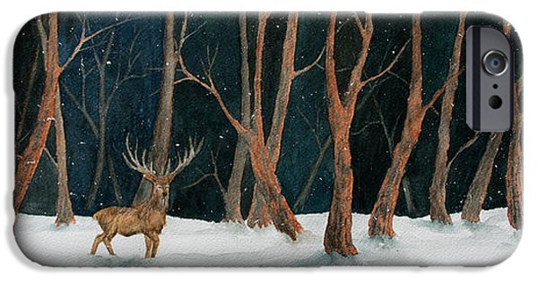 Business Paintings iPhone Cases - Winter Deer iPhone Case by Rebecca Davis