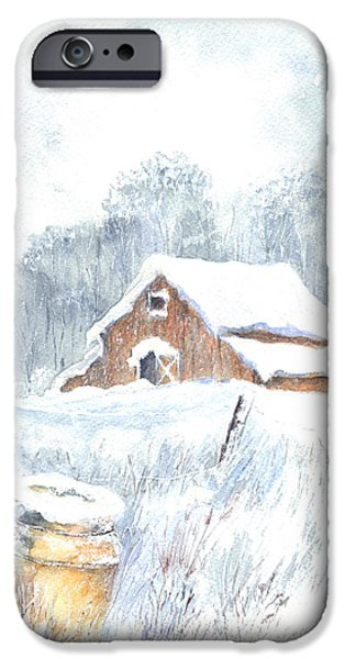 Old Barns Drawings iPhone Cases - Winter Down On The Farm iPhone Case by Carol Wisniewski