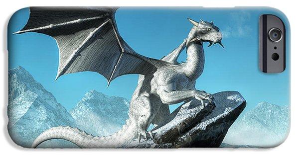 Frigid iPhone Cases - Winter Dragon iPhone Case by Daniel Eskridge