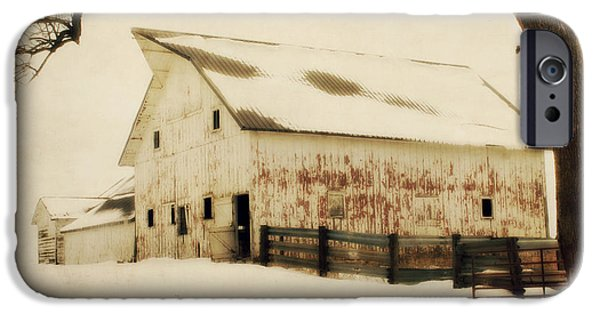 Monotone Digital iPhone Cases - Winter Dream Barn iPhone Case by Julie Hamilton