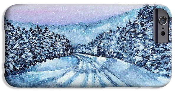 Maine Roads Paintings iPhone Cases - Winter Drive iPhone Case by Shana Rowe