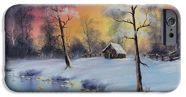 Recently Sold -  - Bob Ross Paintings iPhone Cases - Winters Grace iPhone Case by C Steele
