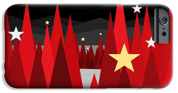Christmas Eve Digital Art iPhone Cases - Winter Eve - Twinkle iPhone Case by Val Arie