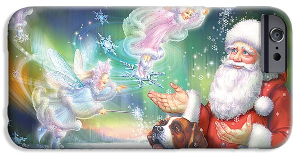 Santa iPhone Cases - Winter Fairies iPhone Case by Zorina Baldescu