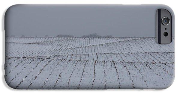 Snowy Day iPhone Cases - Winter Farm Fields - Rolling Hills on a Bleak Snowy Day iPhone Case by Georgia Mizuleva