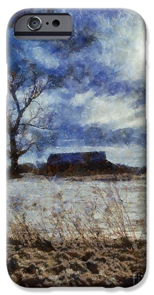Wintertime iPhone Cases - Winter Farm iPhone Case by Janine Riley