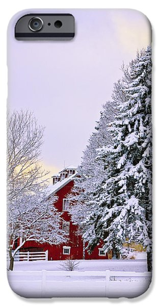 Red Barn In Winter iPhone Cases - Winter Farm Scene iPhone Case by Timothy Flanigan