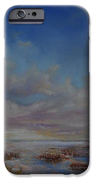 Field. Cloud Pastels iPhone Cases - Winter field iPhone Case by Zbynek Jablonecky