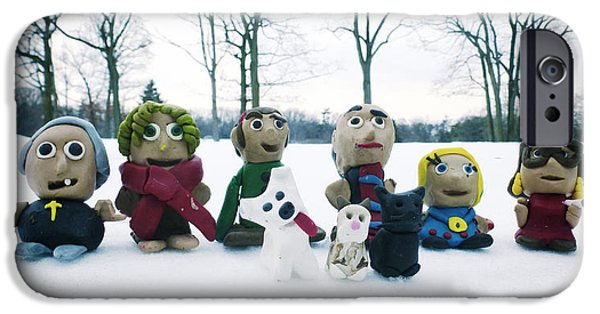 Child Sculptures iPhone Cases - Winter Fimo Family iPhone Case by Natasha Marco