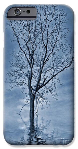 Floods iPhone Cases - Winter Floods Painting iPhone Case by John Edwards