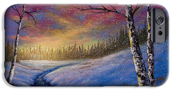 Bob Ross Paintings iPhone Cases - Winter Flurries iPhone Case by C Steele
