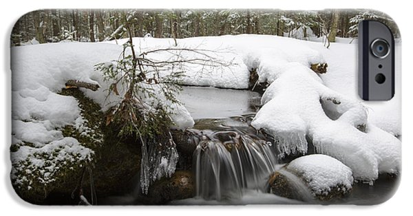 Snowy Stream iPhone Cases - Winter Forest - Lincoln New Hampshire USA iPhone Case by Erin Paul Donovan