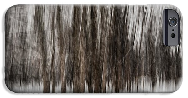 Winter Storm iPhone Cases - Winter forest abstract iPhone Case by Elena Elisseeva