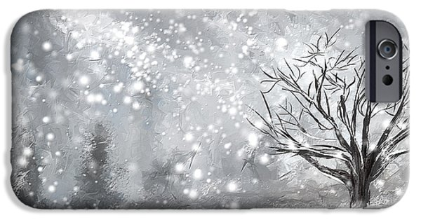 Fall In New England iPhone Cases - Winter- Four Seasons Painting iPhone Case by Lourry Legarde