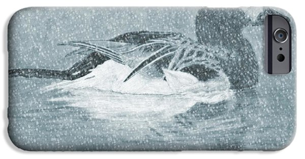 Winter Storm Drawings iPhone Cases - Winter Fowl iPhone Case by Mosav Art