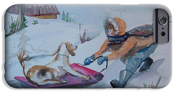 Dog In Landscape iPhone Cases - Winter Friends iPhone Case by Barbara McGeachen