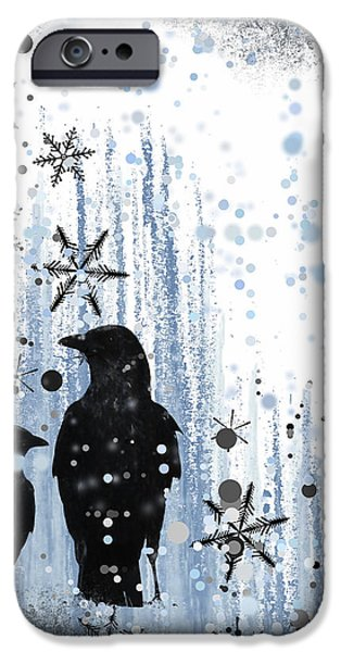 Baby Bird Mixed Media iPhone Cases - Winter Frolic 2 iPhone Case by Melissa Smith