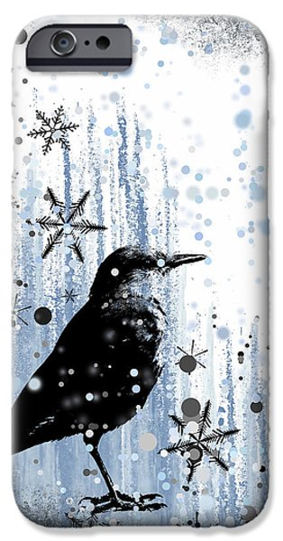 Baby Bird Mixed Media iPhone Cases - Winter Frolic iPhone Case by Melissa Smith