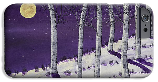 Snowy Day iPhone Cases - Winter Full Moon and Birch Trees  Painting iPhone Case by Keith Webber Jr